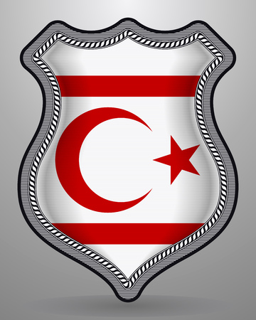 Flag of Northern Cyprus. Vector Badge and Icon with Central Glossy National Symbol Illustration