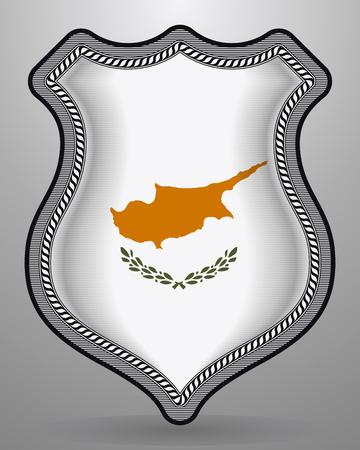 Bandera de Chipre Insignia de vector e icono con símbolo nacional brillante central