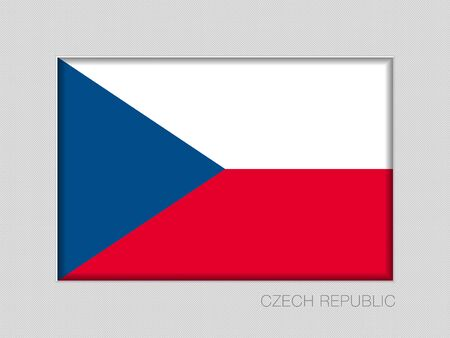 Flag of Czech Republic. National Ensign Aspect Ratio 2 to 3 on Gray Cardboard Illustration