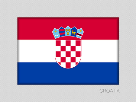 Flag of Croatia. National Ensign Aspect Ratio 2 to 3 on Gray Cardboard 일러스트