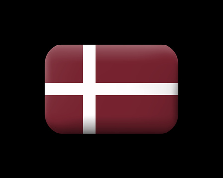 Denmark Orlogsflaget Variant Flag. Matted Vector Icon and Button. Rectangular Shape with Rounded Corners