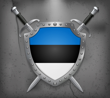Flag of Estonia. The Shield with National Flag. Two Crossed Swords. Vector Medieval Background