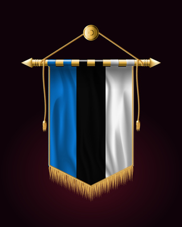 Flag of Estonia. Festive Vertical Banner. Wall Hangings with Gold Tassel Fringing