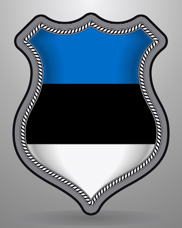 Flag of Estonia. Vector Badge and Icon with Central Glossy National Symbol