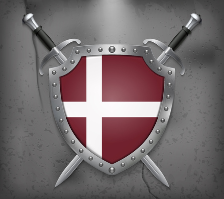 Denmark Orlogsflaget Variant Flag. The Shield with National Flag. Two Crossed Swords. Vector Medieval Background  イラスト・ベクター素材