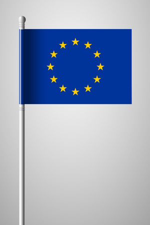 Flag of European Union. National Flag on Flagpole. Isolated Illustration on Gray Background