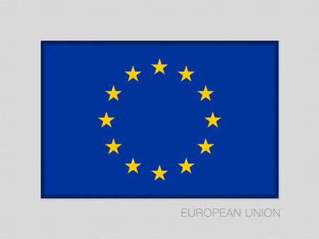 Flag of European Union. National Ensign Aspect Ratio 2 to 3 on Gray Cardboard