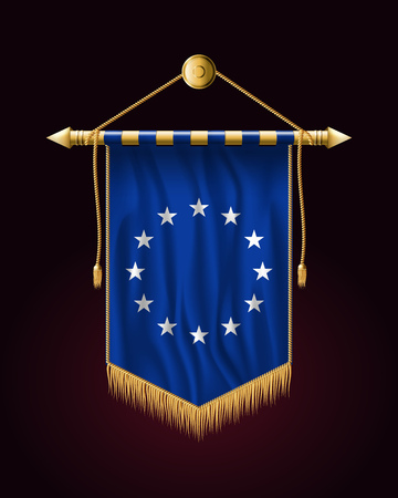 Monochrome Version European Union Flag. Festive Vertical Banner. Wall Hangings with Gold Tassel Fringing