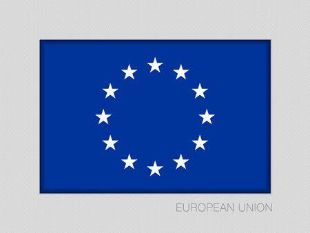 Monochrome Version European Union Flag. National Ensign Aspect Ratio 2 to 3 on Gray Cardboard Illustration