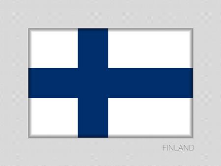 Flagge von Finnland. Nationalfähnrich auf grauem Karton