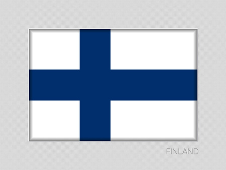 Flag of Finland. National Ensign on Gray Cardboard