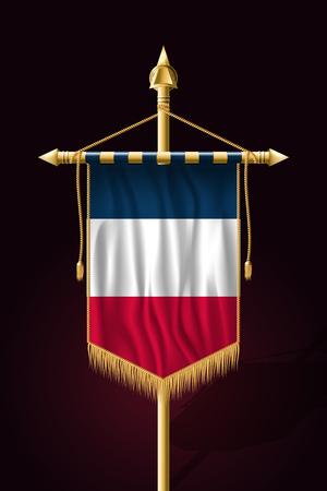 Flag of France. Festive Vertical Banner. Wall Hangings with Gold Tassel Fringing