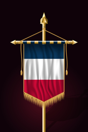 Flag of France. Festive Vertical Banner. Wall Hangings with Gold Tassel Fringing
