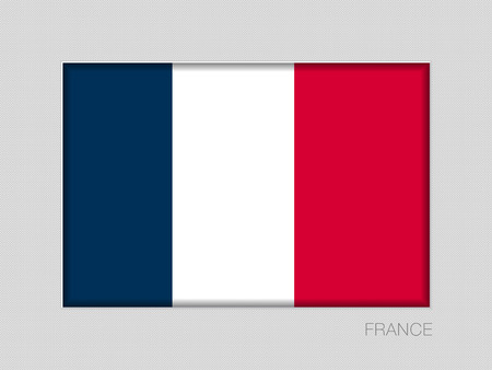 Flag of France. National Ensign on Gray Cardboard