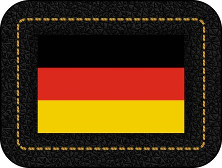 Flag of Germany. Vector Icon on Black Leather Backdrop. Aspect Ratio 2:3 Illustration