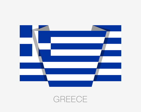 Flag of Greece. Flat Icon Waving Flag with Country Name on a White Background