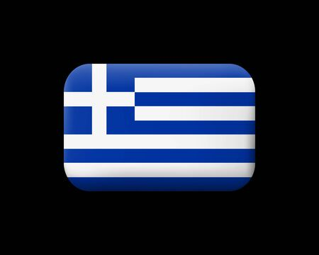 Flag of Greece. Matted Vector Icon and Button. Rectangular Shape with Rounded Corners