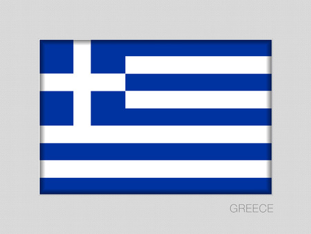 Flag of Greece. National Ensign Aspect Ratio 2 to 3 on Gray Cardboard