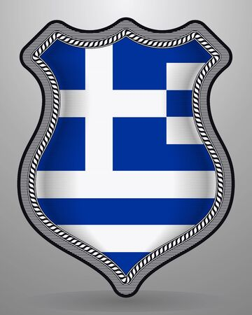 Flag of Greece. Vector Badge and Icon. Horizontal Orientation Version