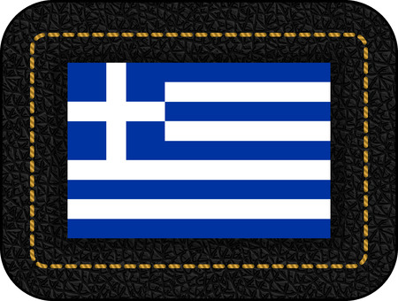 Flag of Greece. Vector Icon on Black Leather Backdrop. Aspect Ratio 2:3