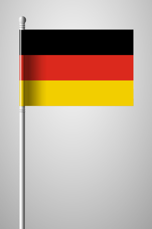 Flag of Germany. National Flag on Flagpole. Isolated Illustration on Gray Background
