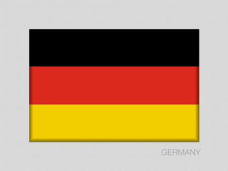 Flag of Germany. National Ensign Aspect Ratio 2 to 3 on Gray Cardboard
