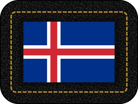 Flag of Iceland. Vector Icon on Black Leather Backdrop. Aspect Ratio 2:3