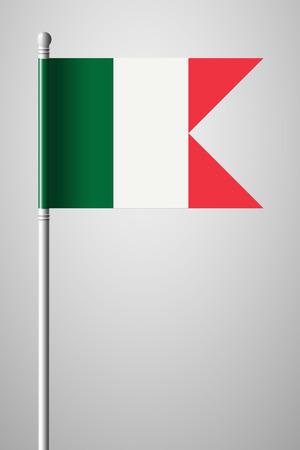 Flag of Italy. National Flag on Flagpole. Isolated Illustration on Gray Background Ilustração