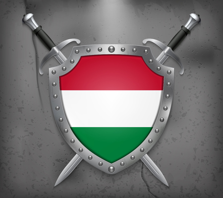 Flag of Hungary. The Shield with National Flag. Two Crossed Swords. Vector Medieval Background