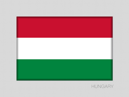 Flag of Hungary. National Ensign Aspect Ratio 2 to 3 on Gray Cardboard