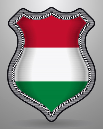 Flag of Hungary. Vector Badge and Icon. Horizontal Orientation Version