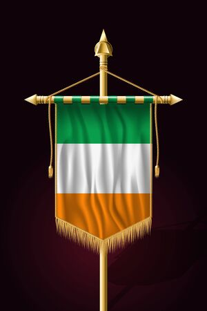 Flag of Ireland. Festive Vertical Banner. Wall Hangings with Gold Tassel Fringing
