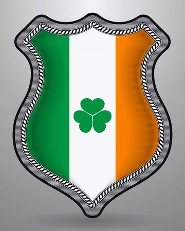 Ireland Flag with Shamrock. Vector Badge and Icon. Horizontal Orientation Version Vettoriali