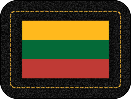 Flag of Lithuania. Vector Icon on Black Leather Backdrop. Aspect Ratio 2:3