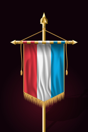 Flag of Luxembourg. Festive Vertical Banner. Wall Hangings with Gold Tassel Fringing