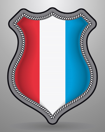 Flag of Luxembourg. Vector Badge and Icon. Vertical Orientation Version Ilustração