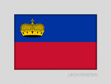 Flag of Liechtenstein. National Ensign Aspect Ratio 2 to 3 on Gray Cardboard. Vector illustration.
