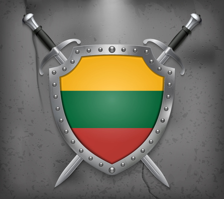 Flag of Lithuania. The Shield with National Flag. Two Crossed Swords. Vector Medieval Background