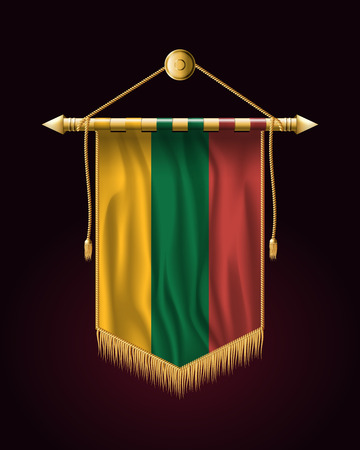 Flag of Lithuania. Festive Vertical Banner. Wall Hangings with Gold Tassel Fringing Vektoros illusztráció