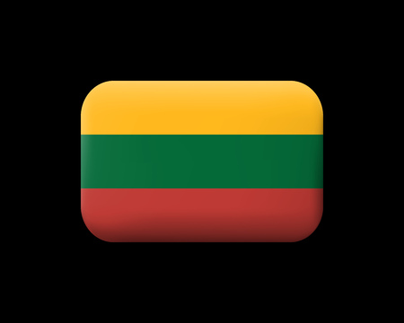 Flag of Lithuania. Matted Vector Icon and Button. Rectangular Shape with Rounded Corners