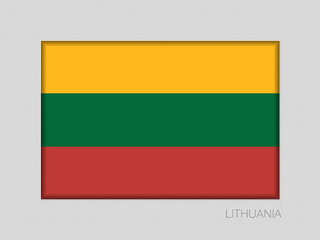 Flag of Lithuania. National Ensign Aspect Ratio 2 to 3 on Gray Cardboard