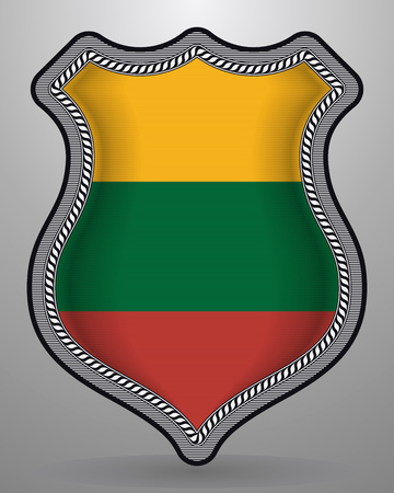 Flag of Lithuania. Vector Badge and Icon. Horizontal Orientation Version