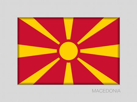 Flagge von Mazedonien, nationales Fahnen-Seitenverhältnis 2 zu 3 auf grauer Pappe.
