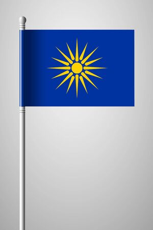 The vergina sun, Macedonian flag unofficial version. National flag isolated illustration on gray background.