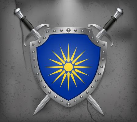 버지니아 선. 마케도니아 깃발 비공식 버전. 국기와 방패. 두 개의 교차 칼. 벡터 중세 배경 일러스트