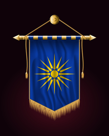The Vergina Sun. Macedonian Flag Unofficial Version. Festive Vertical Banner. Wall Hangings with Gold Tassel Fringing