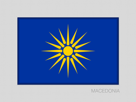 The Vergina Sun. Macedonian Flag Unofficial Version. National Ensign Aspect on Gray Cardboard