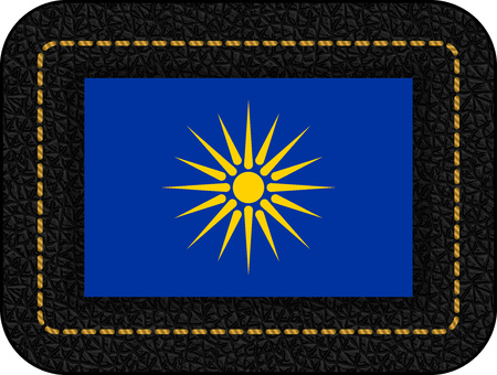 The Vergina Sun. Macedonian Flag Unofficial Version. Vector Icon on Black Leather Backdrop. Aspect Ratio 2:3  イラスト・ベクター素材
