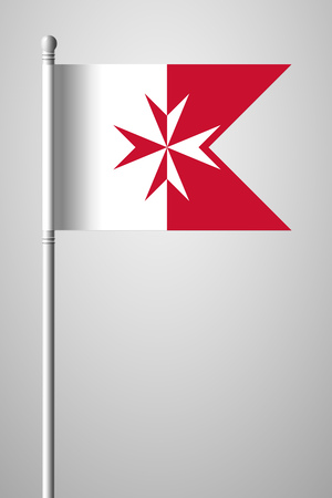 Flag of Malta. Version with Maltese Cross. National Flag on Flagpole. Isolated Illustration on Gray Background