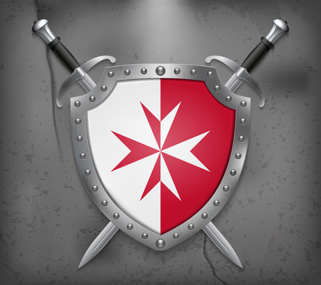 Flag of Malta. Version with Maltese Cross. The Shield with National Flag. Two Crossed Swords. Vector Medieval Background.